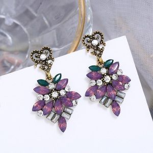 Antiqued Gold Lilac w/Leaves Drop Earrings